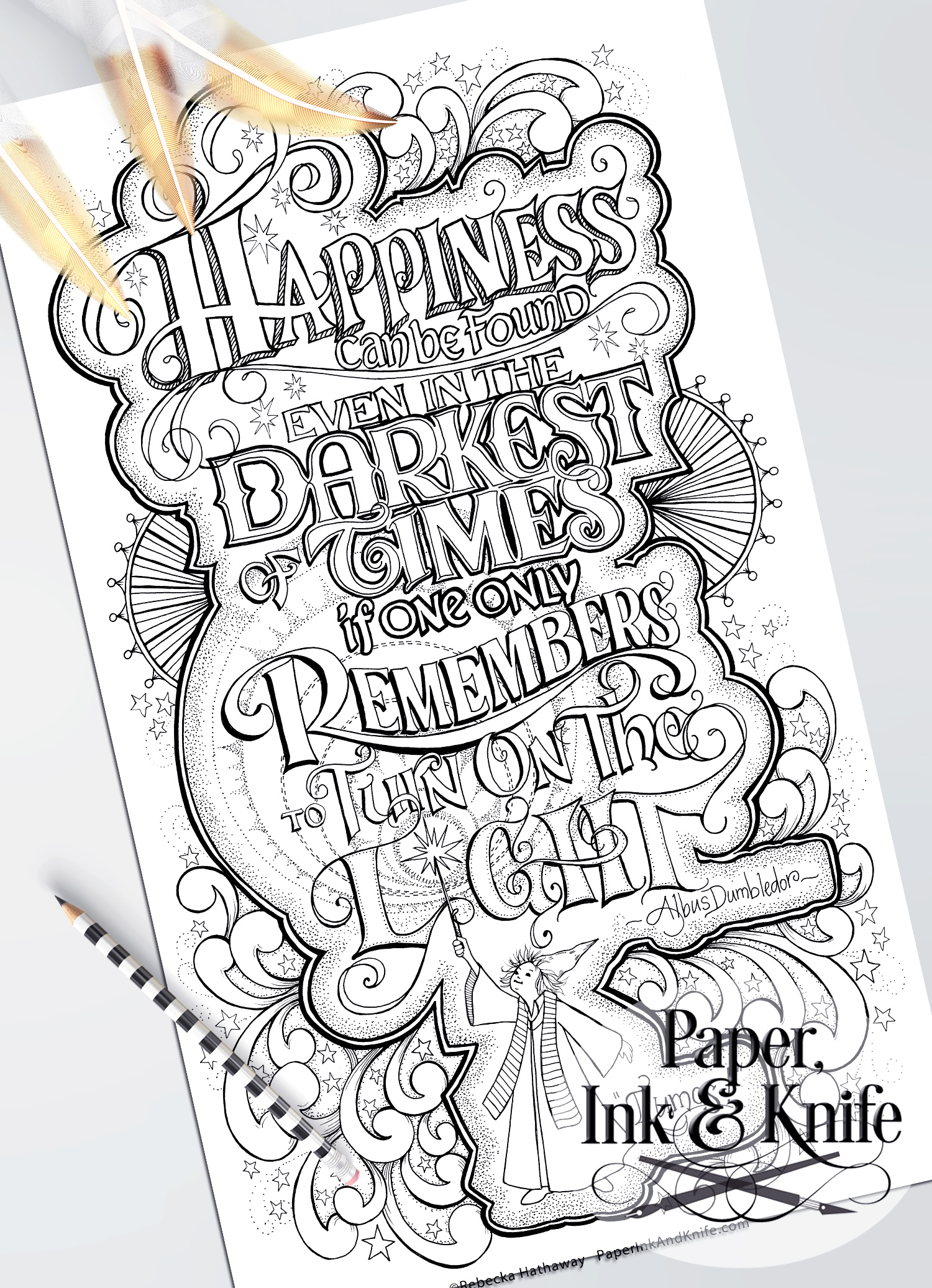 Happiness can still be found - Coloring Page - Paper, Ink and Knife