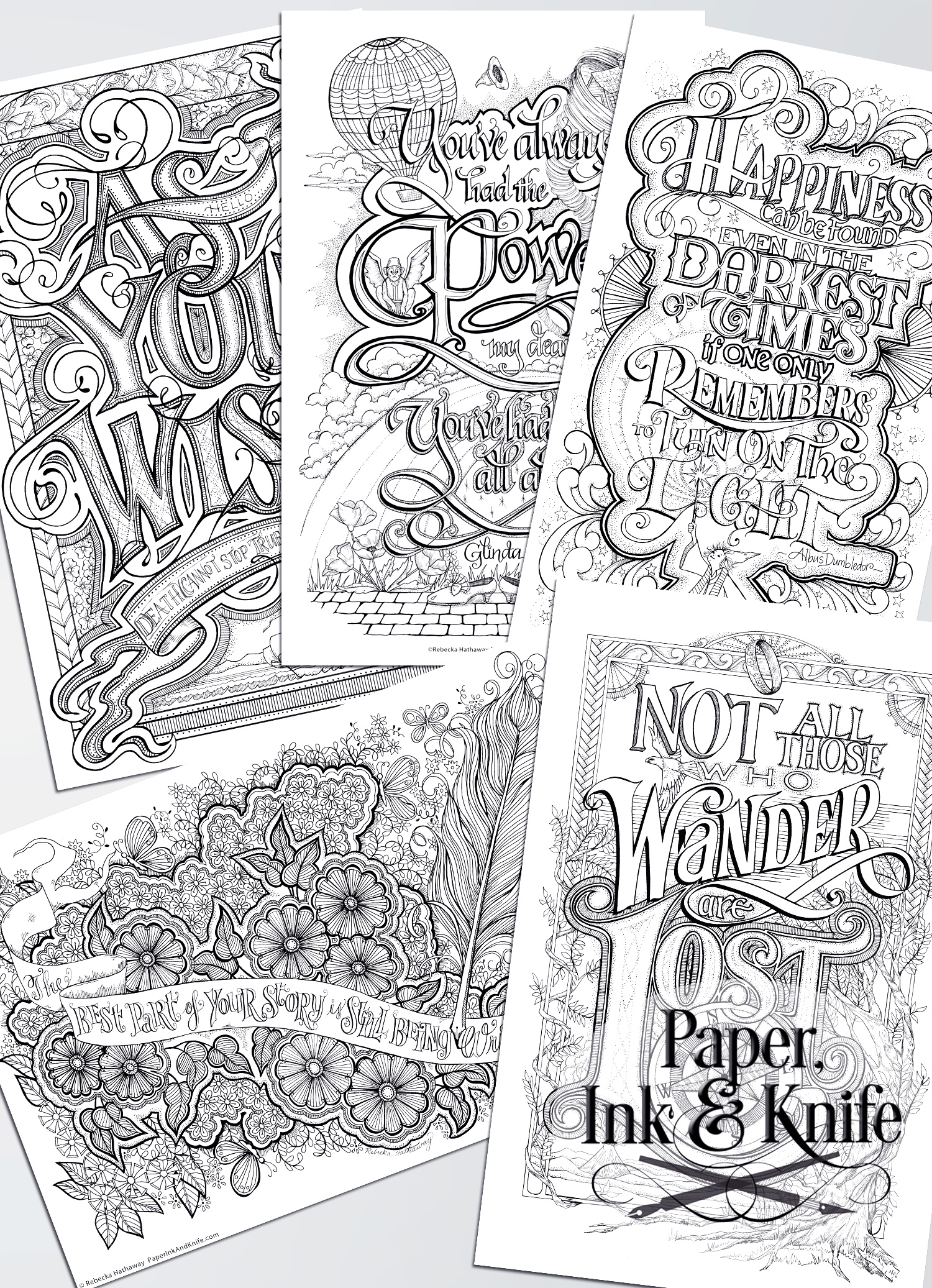 Coloring Poster Set Wise Words Paper Ink And Knife Coloring Posters