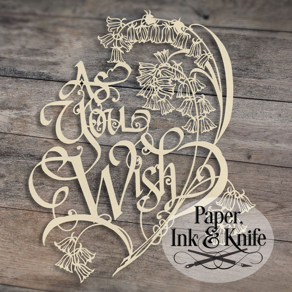 As you wish 1 papercut template paper ink and knife for Paper cut out art templates