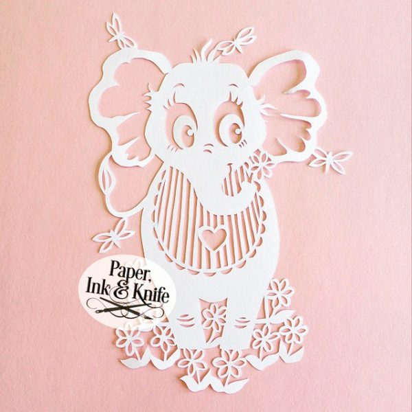 Baby Elephant papercut template for download
