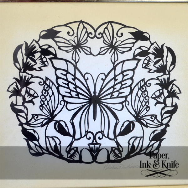 Butterflies papercut template paper ink and knife for Butterfly paper cut out template