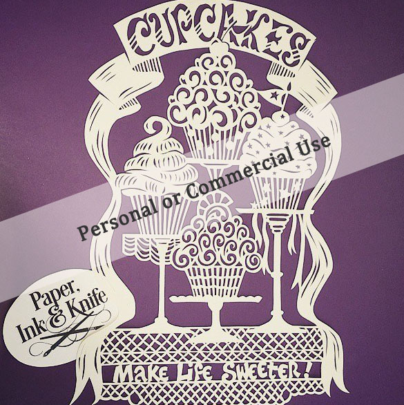 Cupcakes Make Life Sweeter - papercut template for personal or commercial use
