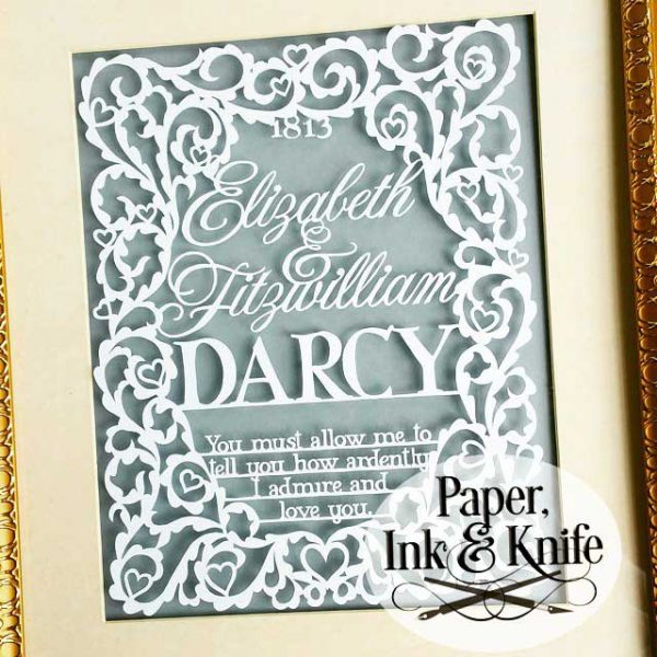 Pride and Prejudice Wedding papercutting template