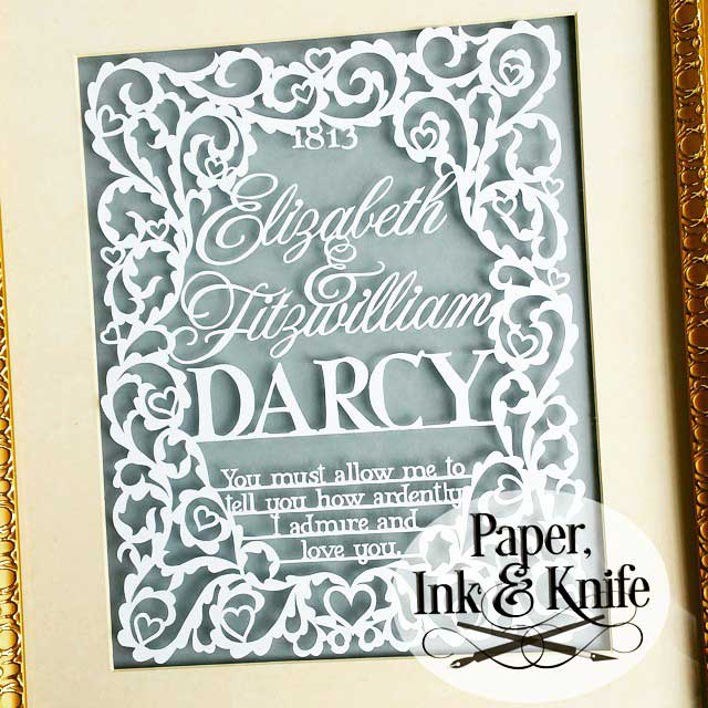 Pride and Prejudice Wedding Sampler - papercut template - Paper, Ink ...