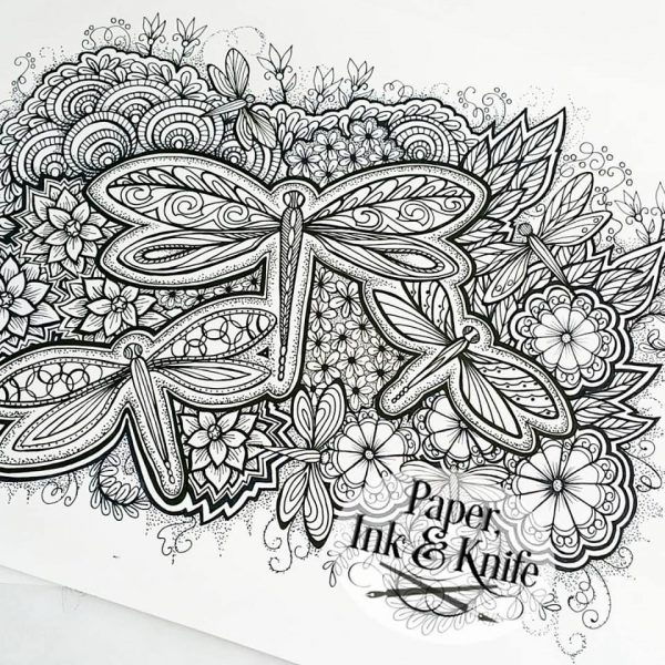 Dragonflies and Flowers Coloring Page Printable download
