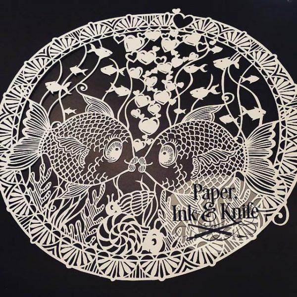 Fishy romance papercut template