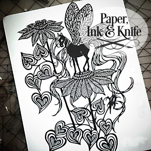 Horse Fly Papercut template