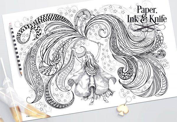 Magic Girl coloring page 11 x 17 black and white poster for coloring