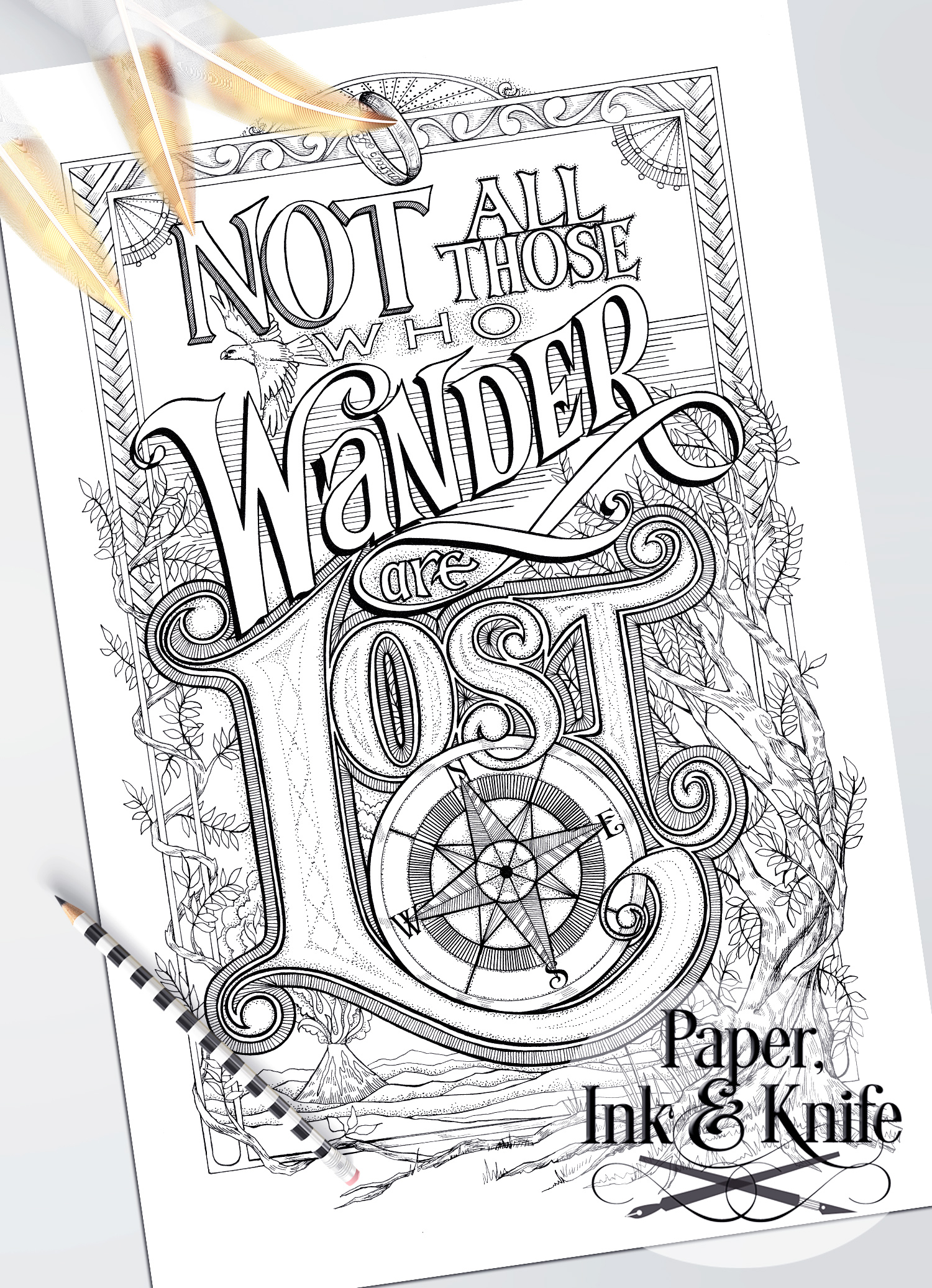 Coloring poster set wise words paper ink and knife Coloring book poster