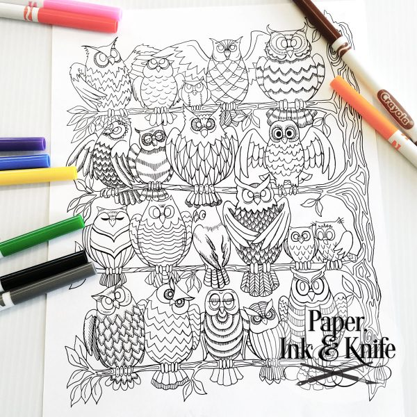 Owls in a tree printable coloring page download