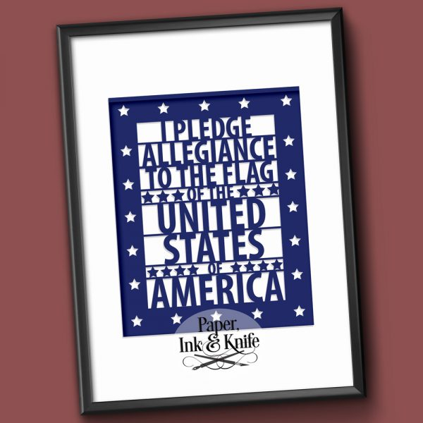 The Pledge of Allegiance papercutting template for download