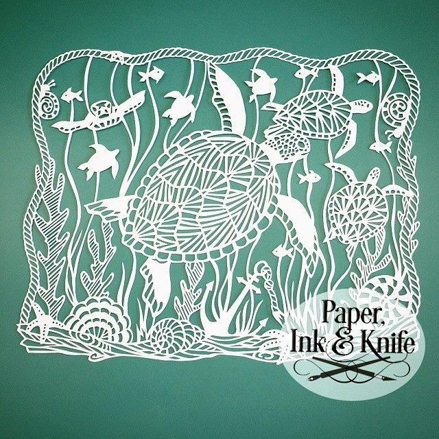 Sea Turtles Papercut Template - Paper, Ink and Knife