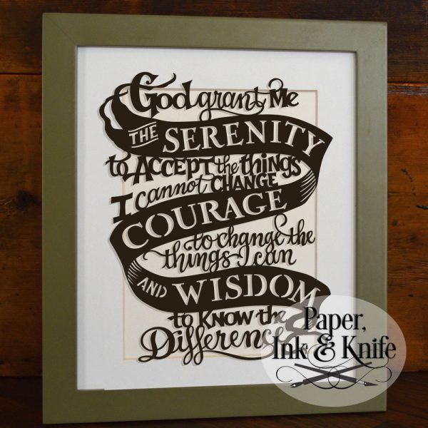 Serenity Prayer papercut template for purchase and download