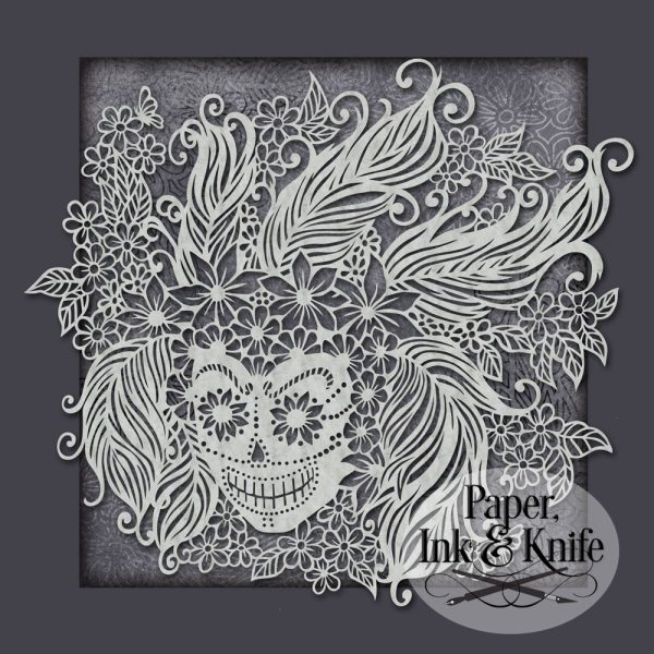 Sugar Skull With Feathers papercut template instant download