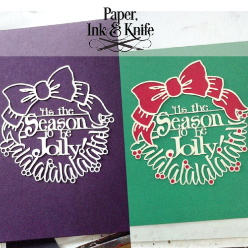 Tis the season wreath 2 color papercut template