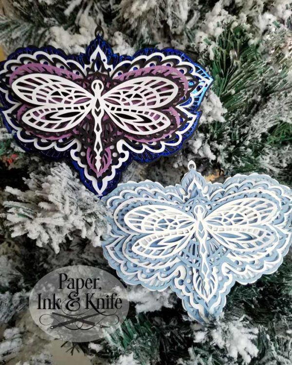 Dragonfly Layered Papercut Ornament Template
