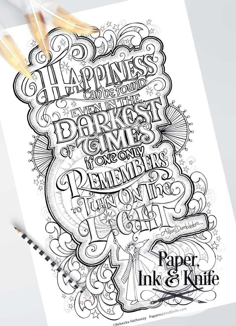 photograph regarding Printable Harry Potter Quotes identify Harry Potter Dumbledore Quotation- Printable Poster Sized Grownup Coloring Site