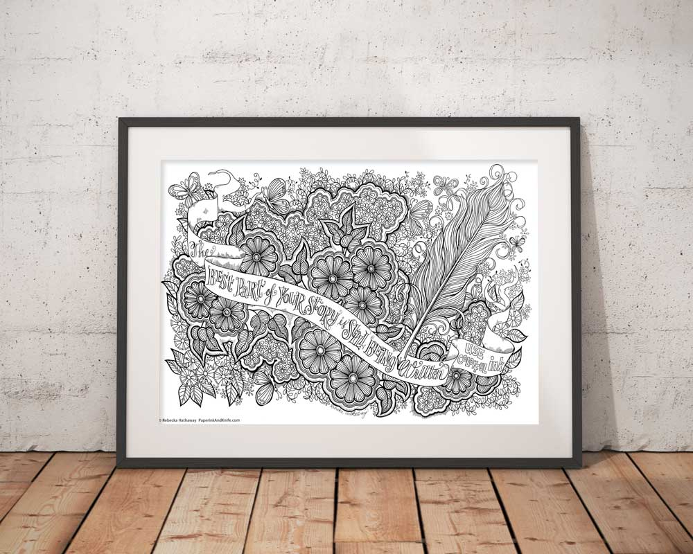 - Feather And Flowers - Printable Poster Sized Adult Coloring Page