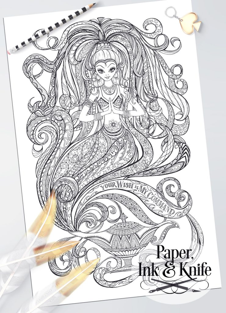 Magic Genie And Her Lamp Coloring Page Paper Ink And