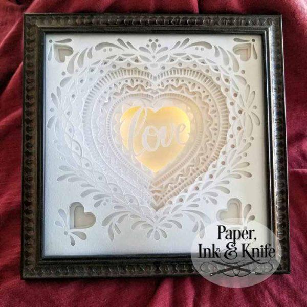 Heart papercut Shadowbox