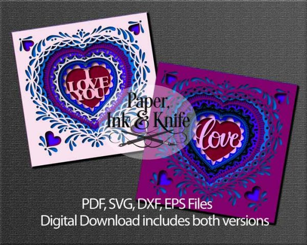 Heart papercut Shadowbox Files