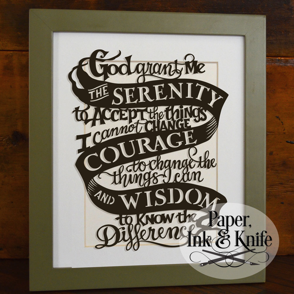 picture regarding Free Printable Serenity Prayer named Serenity Prayer - Papercut Template