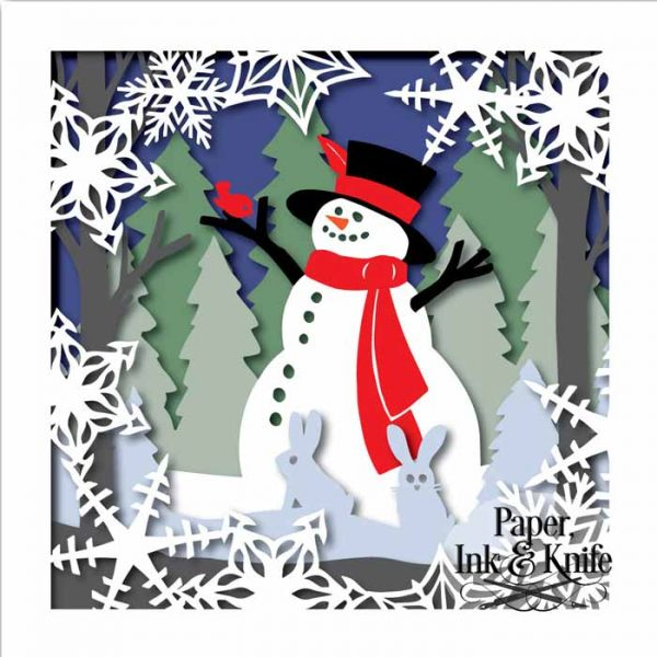 Snowman and Friends Shadowbox Template