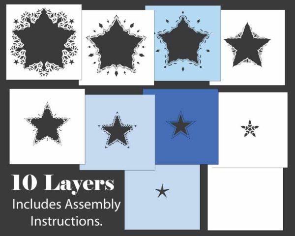 Star Shadowbox Template Layers