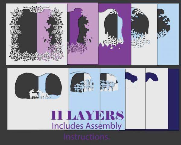 Unicorns Shadowbox Template Layers